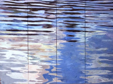 "Ilse Gabbert, Lej Marsch, oil on canvas, 82,7 x 110,2 in, from the series ""water paintings"""