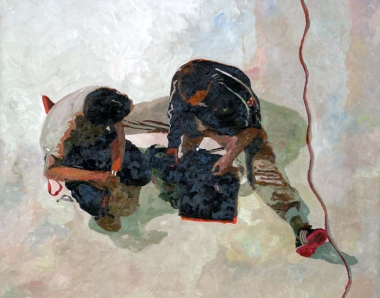 "Ilse Gabbert, Fabrik Heeder, oil painting on canvas, 43,3 x 55,1 in, from the series ""from above"""