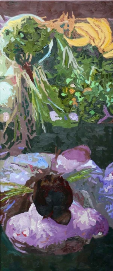 "Ilse Gabbert, Guadeloupe III, oil on canvas, 47,2 x 20 in,  from the series ""from above"""