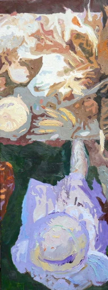 "Ilse Gabbert, Guadeloupe II oil on canvas, 47,2 x 17,7 in,  from the series ""from above"""