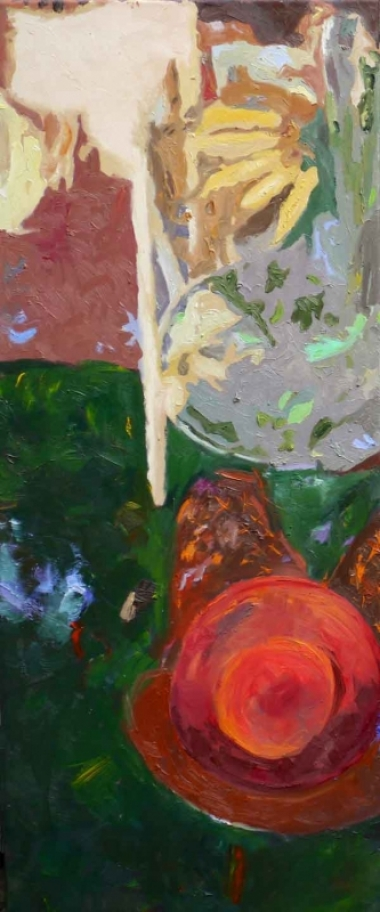 "Ilse Gabbert, Guadeloupe I, oil on canvas, 47,2 x 20 in,  from the series ""from above"""