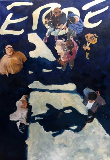 "Ilse Gabbert, Art Cologne, oil on canvas, 63 x 43,3 in, from the series ""from above"""