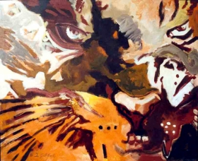 Ilse Gabbert, Tiger #2, Painting, Acrylic on Canvas, 35,4 x 43,3 in